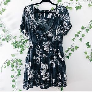 Free People Grey Floral Tie Front Dress